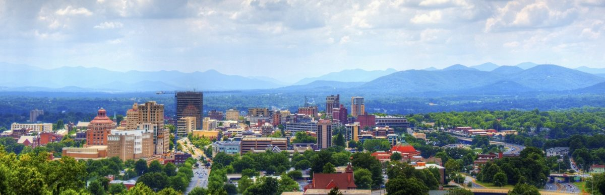 Asheville Skyline with mountains