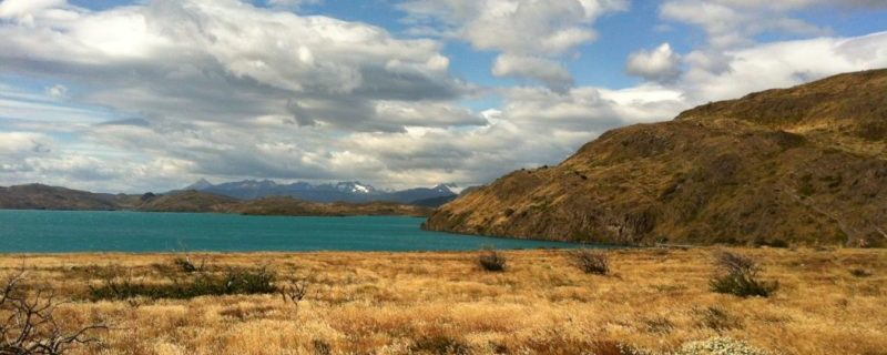 Patagonia grassy landscape and river