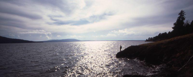 Hiker overlooking yellowstone lake