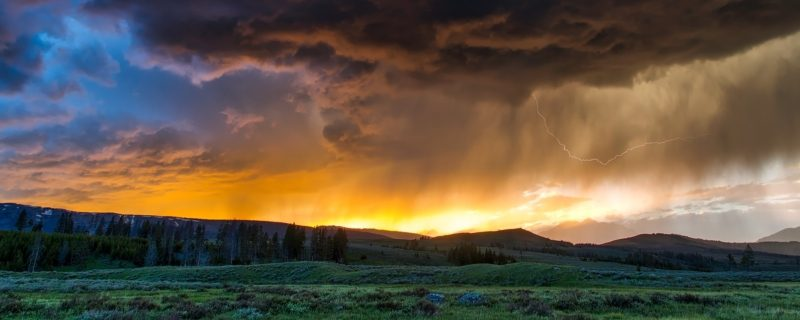 Yellowstone valley sunset and storm