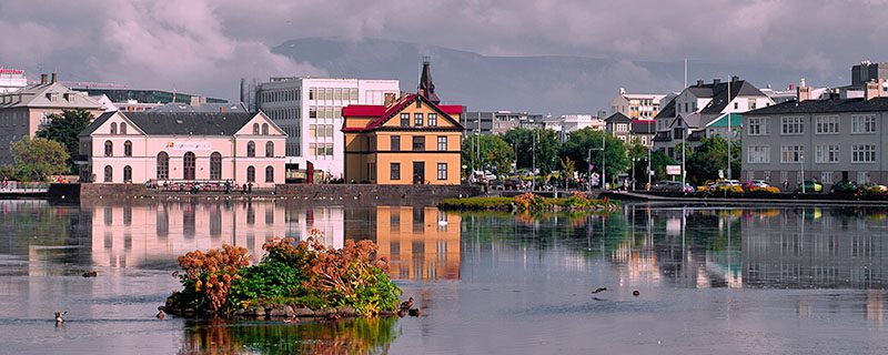 Icelandic buildings on far side of water