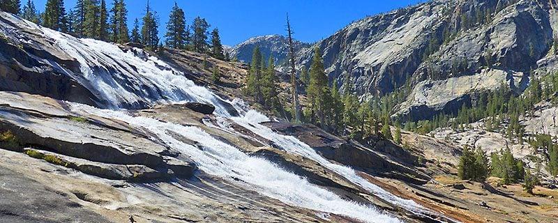 white water descending stone hillside