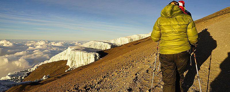 Hiker and Glacier on Mount Kilimanjaro