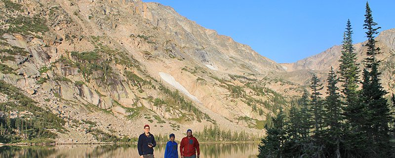 Hikers in front of thunder lake