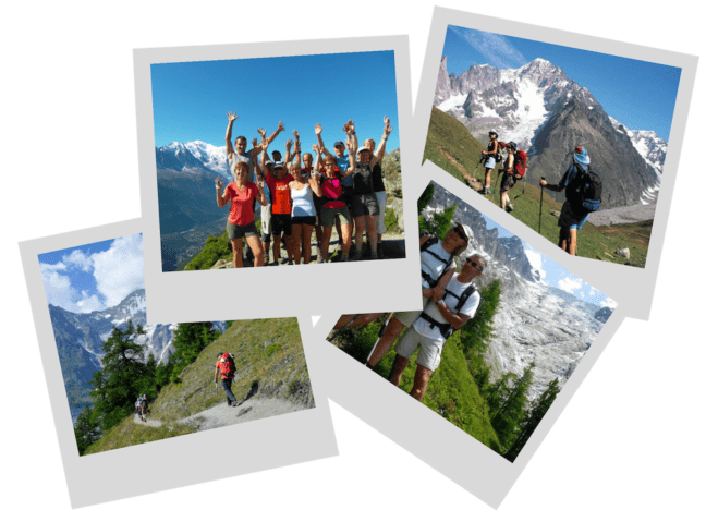 polaroid photos of hikers in Alps