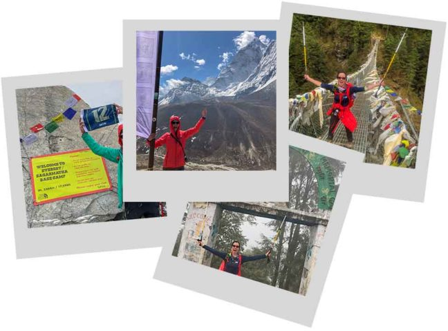polaroid photos of hikers in Nepal