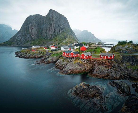 Water-side buildings in Norway