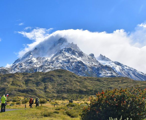 Cloud-covered mountain in Patagonia