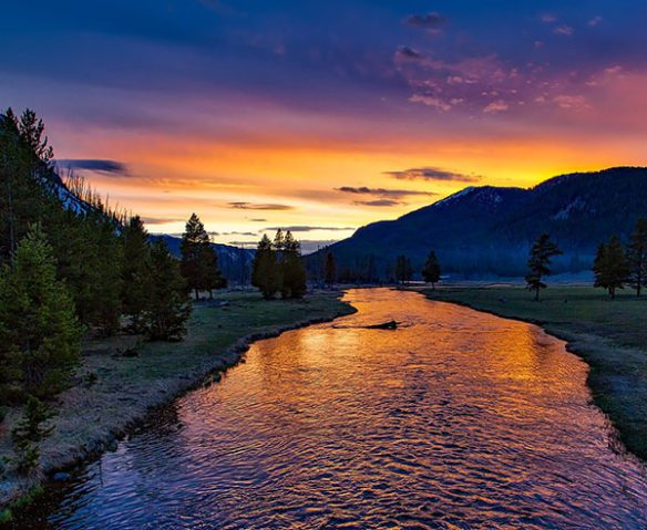 yellowstone river at sunrise or sunset