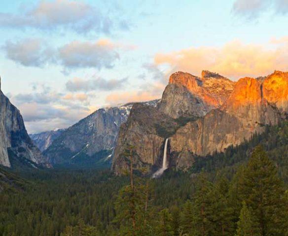 Yosemite mountains in golden light