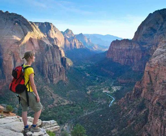 Hiker overlooking Zion