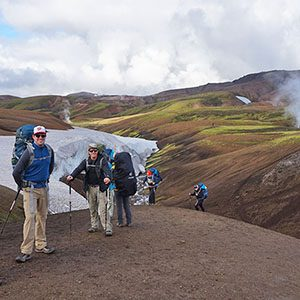 Hikers trekking across Iceland