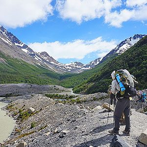 Hiker on stone path in Patagonia