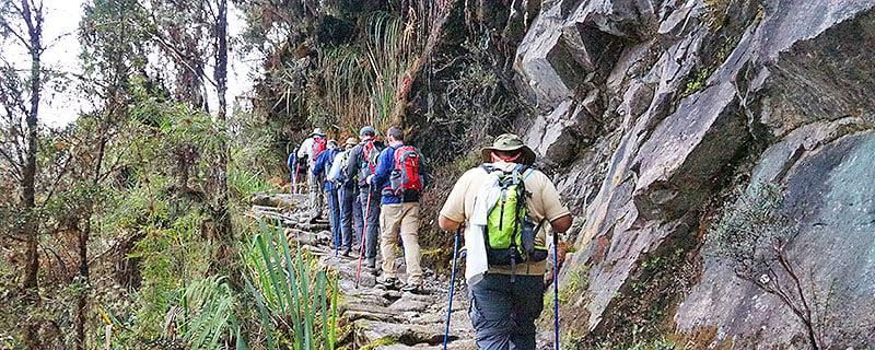 People Trekking the Inca Trail to Machu Picchu