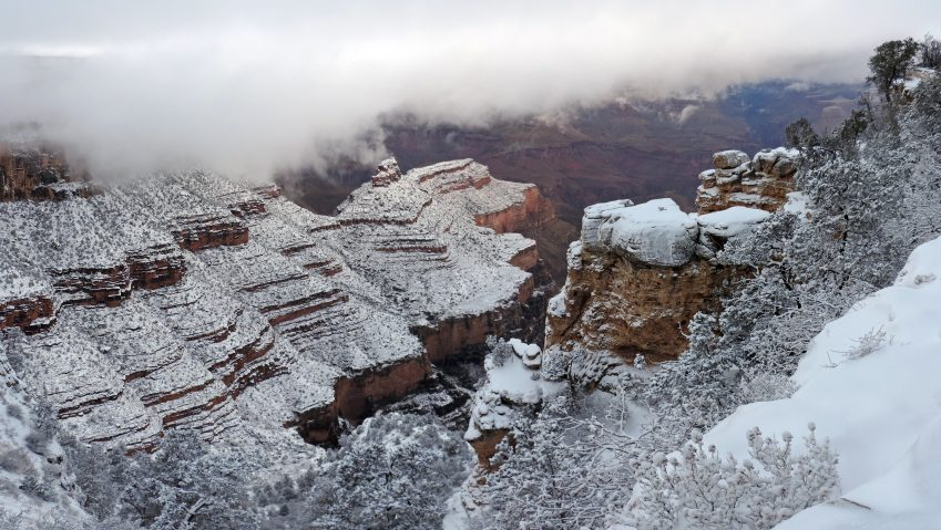 north rim grand canyon national park, a great winter hike without snowshoes