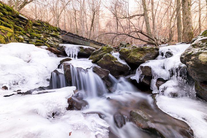 Rose River Falls in Shenandoah National Park, a winter hike without snowshoes. Just bring the microspikes.