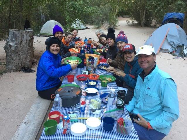 Group enjoying Lester's Camping Crepes at Havasu Campground