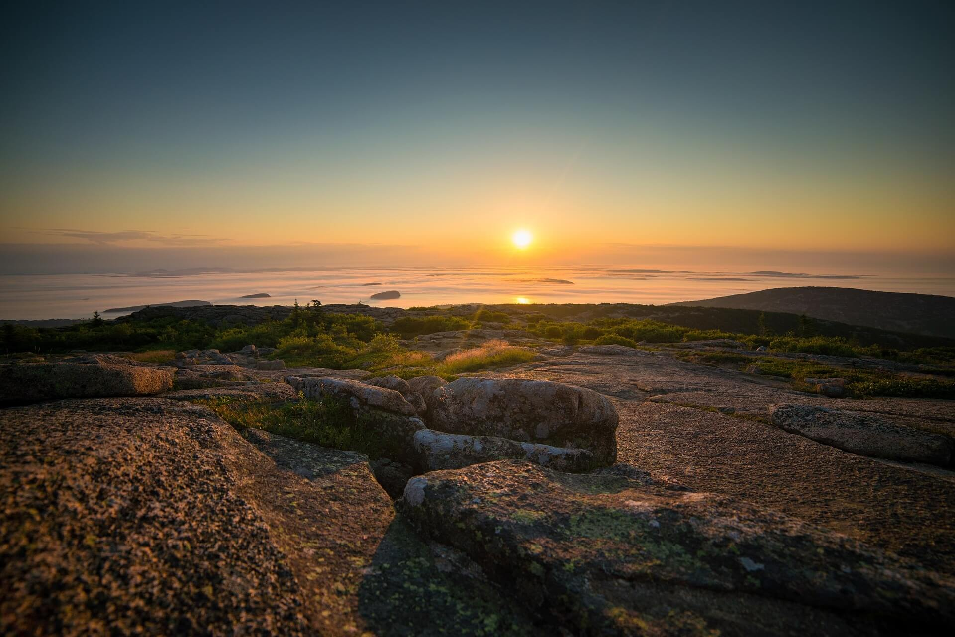 a sunset landscape in Acadia National Park Maine