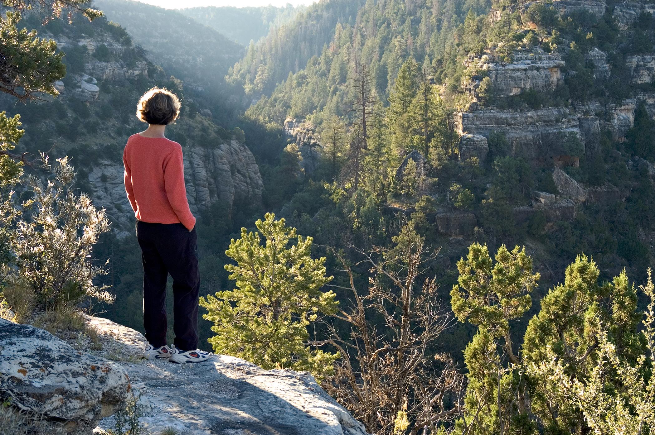 Hiker overlooking Walnut Canyon National Monuments outside of Flagstaff, Arizona