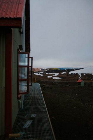 Hrafntinnusker Hut along the Laugavegur Trail in Iceland